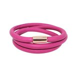 more details on Link Up 3 Row Pink Leather Cord Bracelet.