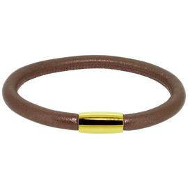 Link Up Single Row Brown Leather Cord Bracelet.