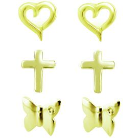 Link Up GP Silver Heart, Cross, Butterfly Earrings-Set of 3.