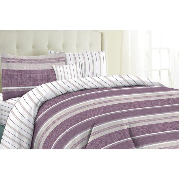 buy home milan plum stripe bedding set bundle single at. Black Bedroom Furniture Sets. Home Design Ideas