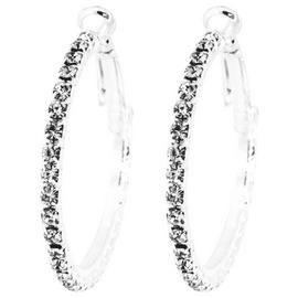 Link Up Large Diamante Hoop Earrings.