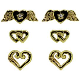 Link Up Gold Plated Silver Heart Stud Earrings - Set of 3.