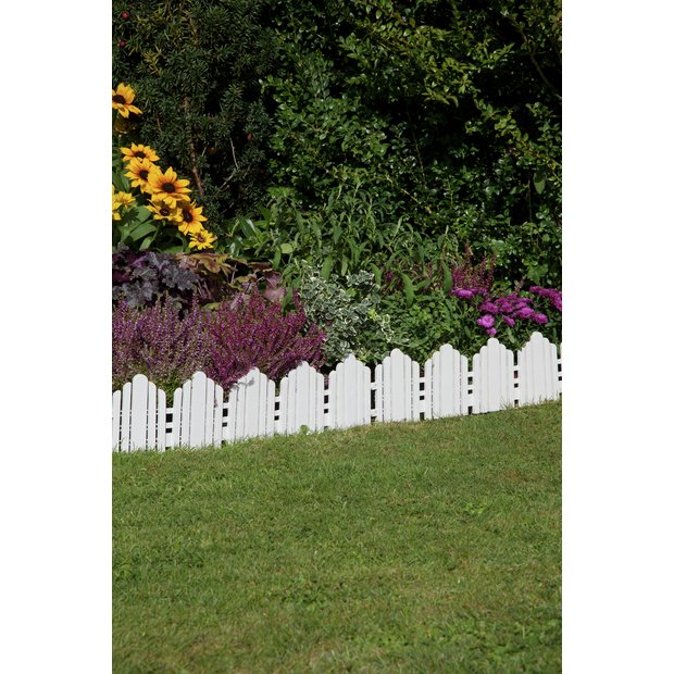 buy white plastic lawn edging pack of 8 at. Black Bedroom Furniture Sets. Home Design Ideas