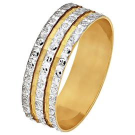 Revere 9ct Gold Diamond Cut 3 Row Sparkle Ring