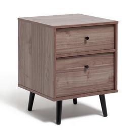 Argos Home Mid Century 2 Drawer Bedside Table - Walnut
