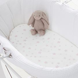 Silentnight Fitted Moses Basket Sheet 2 Pack - Pink Stars