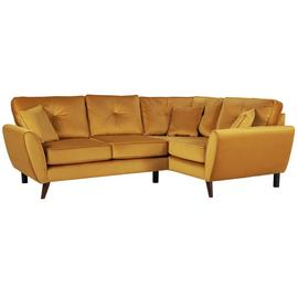 Argos Home Isla Right Corner Velvet Sofa - Gold