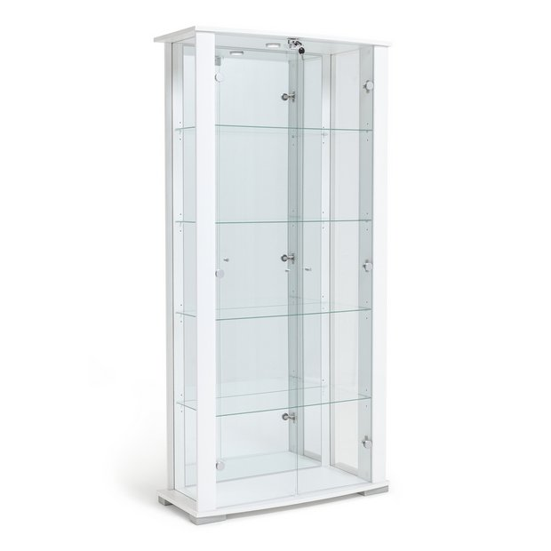 Buy home stella 2 glass door display cabinet white gloss for Argos kitchen cabinets