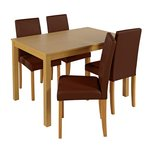 more details on HOME Elmdon Oak Effect Dining Table and 4 Chairs - Choc.