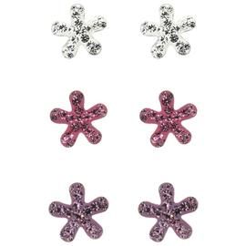 Link Up Sterling Silver Flower Shaped Stud Earrings - 3.
