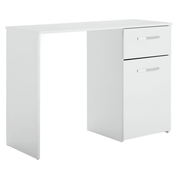 Buy Home Hayward Single Drawer Office Desk White Gloss At Your Online Shop For