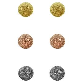 Link Up Sterling Silver Texture Circle Earrings - Set of 3.