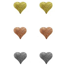 Link Up Sterling Silver Texture Heart Earrings - Set of 3.