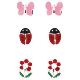 Link Up S.Silver Butterfly, Ladybird, Flower Earrings - 3.