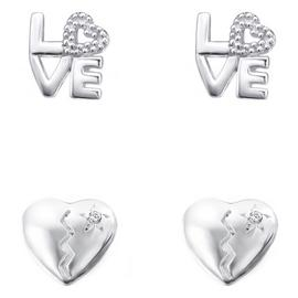 Link Up Sterling Silver Love and Broken Heart Earrings - 2.