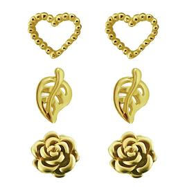 Link Up Gold Plated Silver Heart, Leaf, Rose Earrings - 3.