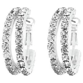Link Up Small Double Row Diamante Hoop Earrings.