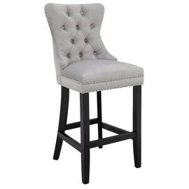 Argos Home Princess Velvet Bar Stool - Light Grey