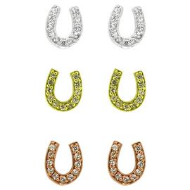 Link Up Sterling Silver Horseshoe Earrings - Set of 3.