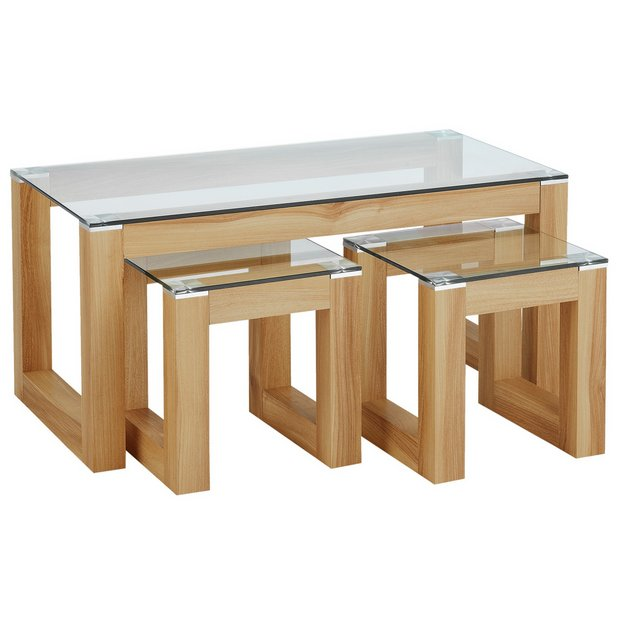 Buy hygena cubic coffee table set with 2 side tables at your online shop for Side table and coffee table set