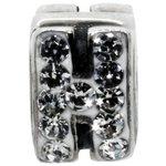 more details on Miss Glitter S.Silver Kids Stone Set Alphabet Charm - H.