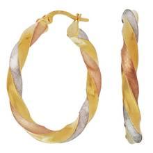 Revere 9ct Multi Coloured Gold Twist Creole Hoop Earrings