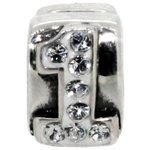 more details on Miss Glitter Sterling Silver Kids Stone Set Number Charm - 1
