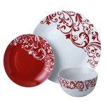 more details on HOME Damask 12 Piece Porcelain Dinner Set - Red.