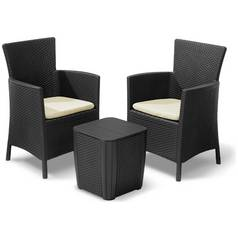 Keter Iowa 2 Seater Rattan Effect Bistro Set with Storage