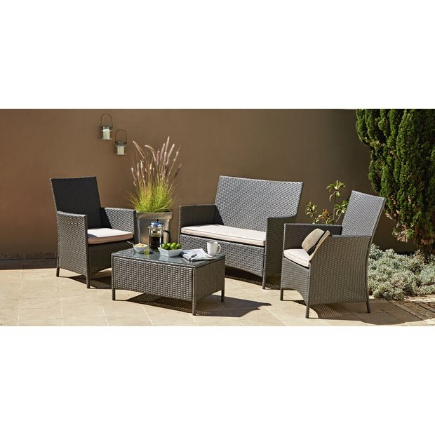 Buy Collection Rattan Effect Grey 3 Seater Highback Sofa