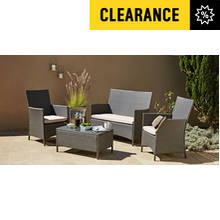 Collection Rattan Effect Grey 4 Seater Highback Sofa Set