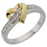 more details on 18ct Gold Plated Sterling Silver CZ Heart Crossover Ring.