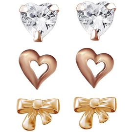 Link Up Rose Gold Plated Silver Crystal Stud Earrings - 3.