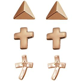 Link Up Rose Gold Plated Silver Cross Stud Earrings - 3.