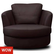 Collection Milano Leather Swivel Chair - Chocolate