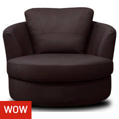 Argos Home Milano Leather Swivel Chair - Chocolate