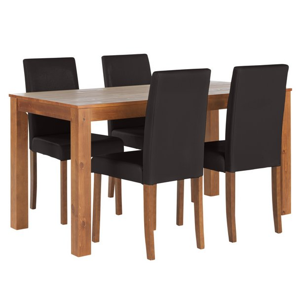 Buy Home Newton Solid Wood Table 4 Mid Back Chairs