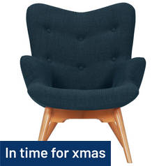 Hygena Angel Fabric Chair - Navy