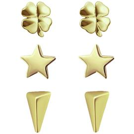 Link Up Gold Plated Silver Stud Earrings - Set of 3.