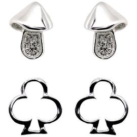 Link Up Sterling Silver Mushroom Stud Earrings - Set of 2.