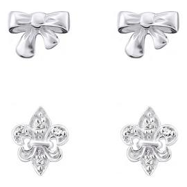 Link Up Sterling Silver Bow and Fleur De Lis Earrings - 2.