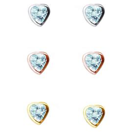 Link Up Sterling Silver Crystal Heart Earrings - Set of 3.