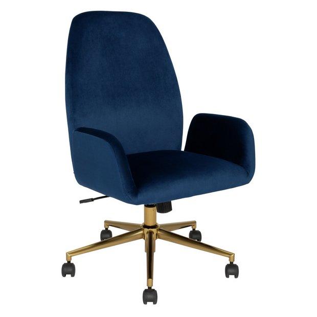 Buy Argos Home Clarice Velvet Office Chair Blue Office Chairs Argos