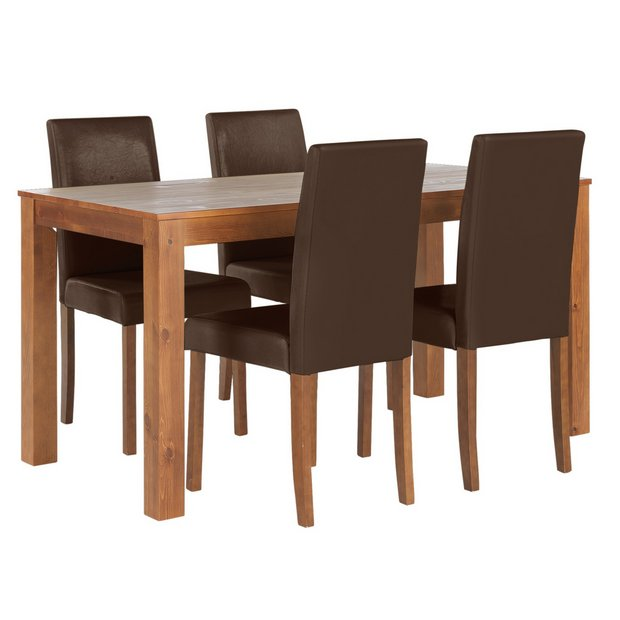 Buy home newton solid wood table 4 mid back chairs chocolate at your online Buy home furniture online uk