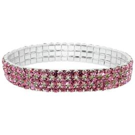 Link Up Diamante Pink Elastic Bracelet.