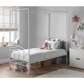 Argos Home Hearts White Single 4 Poster Bed & Kids Mattress