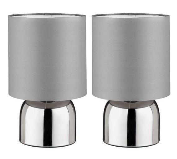 ColourMatch Pair Of Touch Table Lamps   Flint Grey