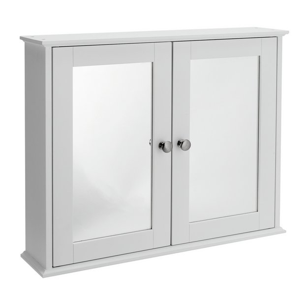 Buy home 2 door mirrored classic core cabinet white at for White mirrored cabinet