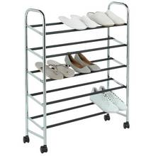 Home 5 Shelf Rolling Shoe Storage Rack Chrome