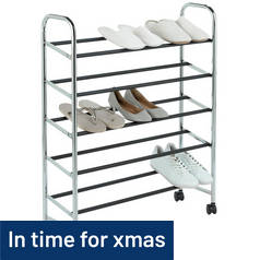 Argos Home 5 Shelf Rolling Shoe Storage Rack - Chrome